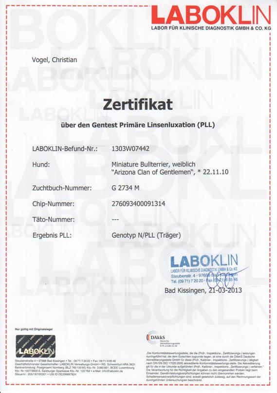 Zertifikat Gentest PLL